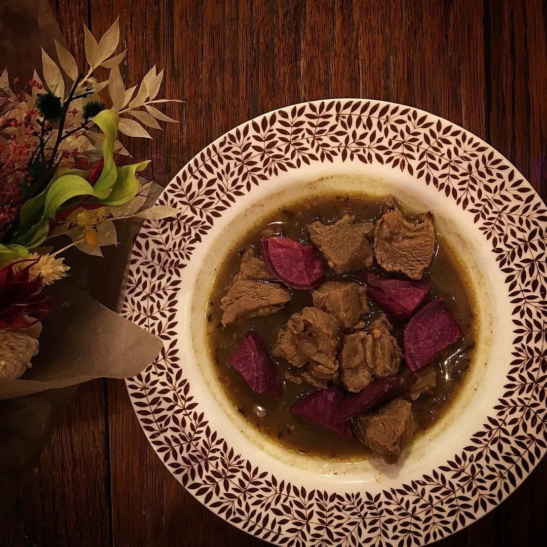 紫芋とラム肉のカレー