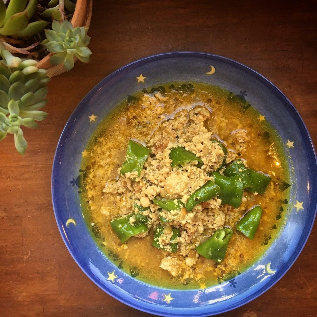 甘長唐辛子の鶏キーマカレー